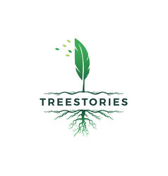 Tree quill feather ink root logo icon vector