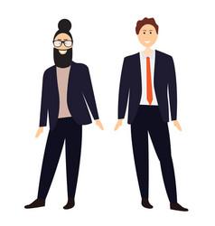 two cartoon men in suits vector image