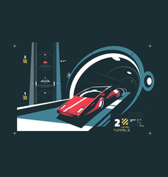 two levels cars tunnel with map of traffic vector image