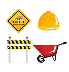 Under construction equipment tools hardwork vector