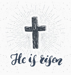 Vintage label hand drawn christian cross with vector