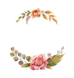 watercolor autumn wreath with rose and vector image