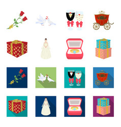 Wedding and attributes cartoonflat icons in set vector