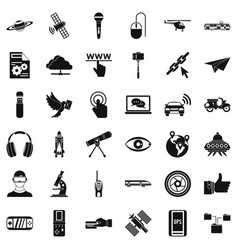 Wireless technology icons set simple style vector