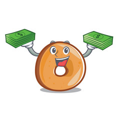With money bag bagels mascot cartoon style vector