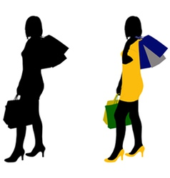 Women shopping vector
