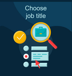 Work searching flat concept icon vector