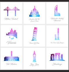world fomous landmarks icons set design vector image