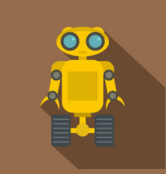 Yellow robot icon flat style vector