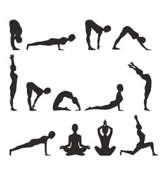 Yoga pose collection silhouette vector