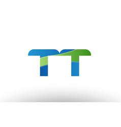 blue green tt t t alphabet letter logo vector image vector image