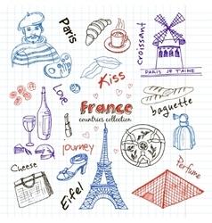 Hand drawn doodle France symbols set vector image vector image
