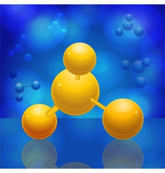 yellow 3d molecule reflected on a blue glossy surf vector image