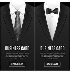 business card bow tie and necktie set vector image vector image