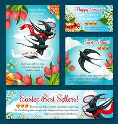 easter egg hunt banner template of flower and bird vector image