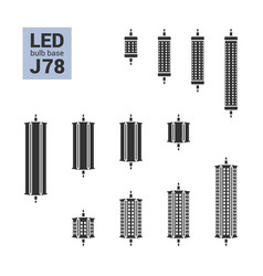 led light j78 bulbs silhouette icon set vector image