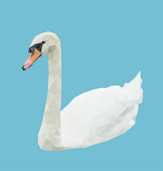 low polygon poly of white swan isolated on blue vector image