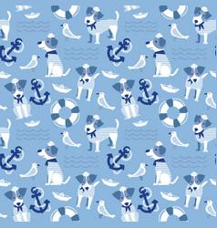 Sailor terrier dog seamless pattern vector