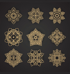 Thai art pattern design set vector