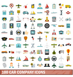 100 car company icons set flat style vector image vector image