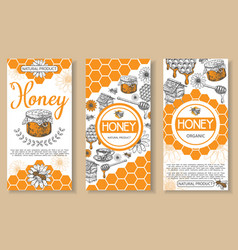 bee natural honey hand drawn flyer set vector image