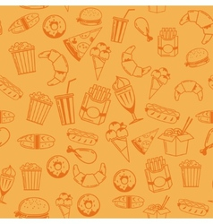 Fast Food seamless pattern for web menu cafe and vector image vector image