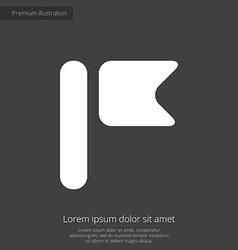 flag premium icon white on dark background vector image vector image