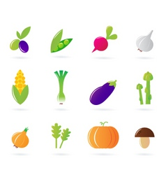 fresh vegetable isolate icons vector image vector image
