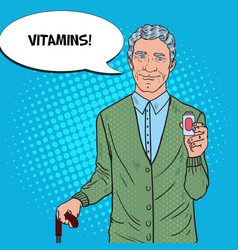 Pop art senior man with medications health care vector