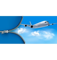Travel background with airplane on blue sky vector image