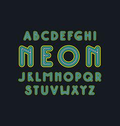 decorative striped sans serif font vector image vector image