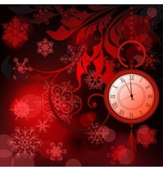 Red New Year background with watches and vector image vector image
