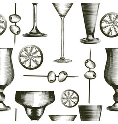 seamless pattern with cocktail glasses olives vector image