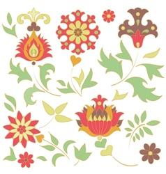 set of retro flower elements vector image vector image