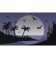 Silhouette of Pterodactyl flying in sea vector image