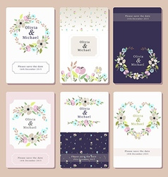 A floral invitation card set vector