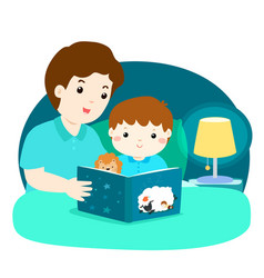 a of a father reading a bedtime vector image
