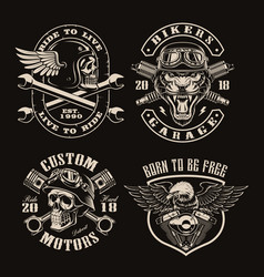 a set black and white vintage biker emblems vector image