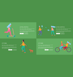 active lifestyle and city park set of posters vector image