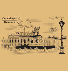 amalienborg square in copenhagen brown vector image
