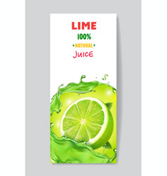 Banner with fresh citrus lime juice package design vector