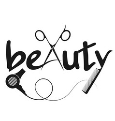 Beauty scissors and comb design vector