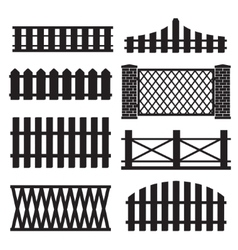 Big set of wooden fence silhouette vector image