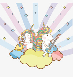 Birthday party unicorn party cartoons vector