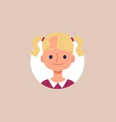 blonde caucasian girl cartoon avatar face flat vector image