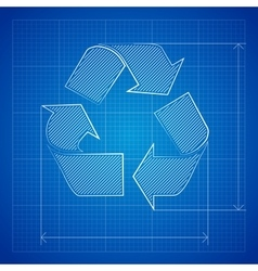 Blueprint Recycle Symbol vector image