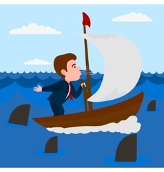 Businessman blowing into sail boat vector
