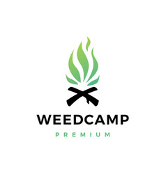 Cannabis weed camp fire logo icon vector