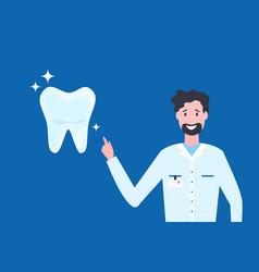 cartoon dentist showing vector image