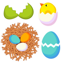Cartoon easter icon set chicken nest egg shell vector
